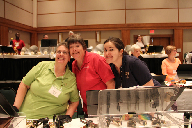 My ringing buddies from Disticntly Bronze East, 2014: Donna Thomas and Denise Holmes (current Chair Elect of Area 5)